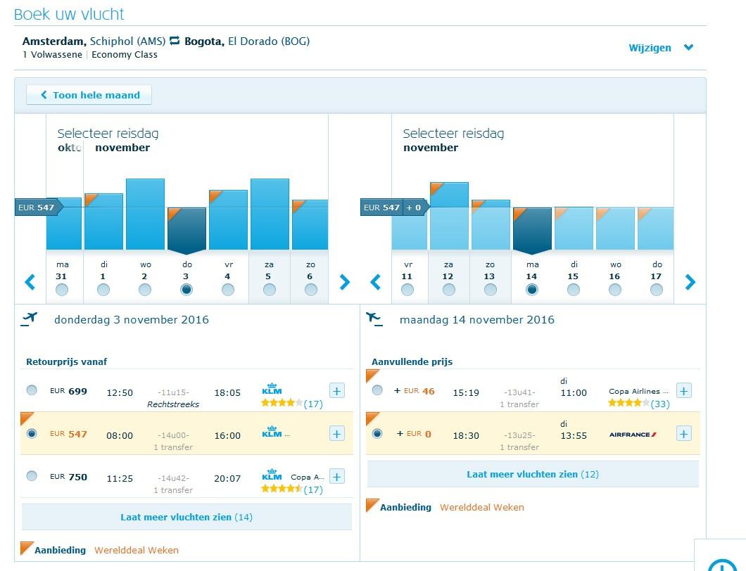 KLM-werelddealweken vliegticket Colombia 547,-