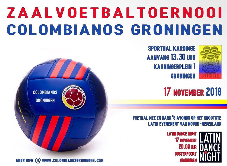 Colombianos Gronningen organiseert zaalvoetbaltoernooi 17 november
