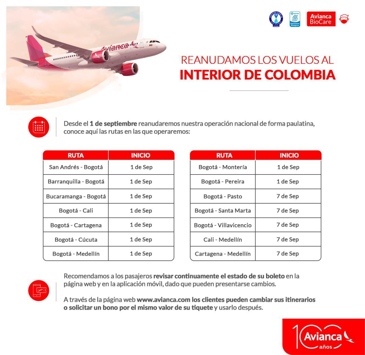 Avianca hervat nationale vluchten vanaf 1 september